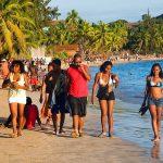 beach scene, ambatolouk, nosy-be, madagascar.